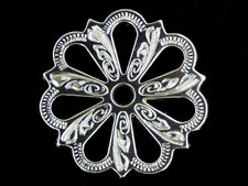 Western Tack Bright Silver Filigree Concho Adapter