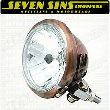"4.5"" BATES STYLE UNIVERSAL COPPER HEADLIGHT CHOPPER BOBBER XS650 TRIUMPH BSA"