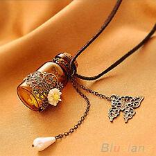 Womens Splendid Hollow Flower Wishing Bottle Long Rope Chain Necklace Friendship