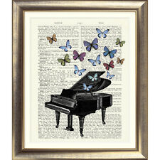 ART PRINT ON ORIGINAL ANTIQUE BOOK PAGE Piano Contemporary Picture Vintage Old