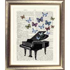 Impresión de arte en Original Antiguo Libro página Piano Contemporáneo imagen Vintage Antiguo