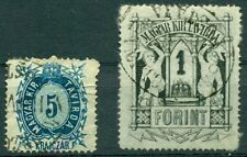 HUNGARY 1874 5kr & 1ft TELEGRAPH STAMPS, USED, VF