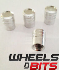Silver Coloured Striped Aluminium Vented Valve Caps Suitable For OPEL Cars Vans