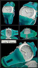 VERY ATTRACTIVE TIMES FORCE SPORTY CHRONOGRAPH UNISEX WATCH TURQUOISE BLUE NEW