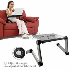 US Portable Adjustable Folding Laptop Table PC Notebook Hole Stand Tray Computer