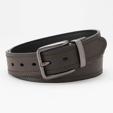 Levi's Stitched Leather Belt  BLACK/BROWN Reversible 11LV02VR Gunmetal Sz 40 NWT