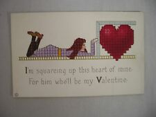 VINTAGE EMBOSSED VALENTINE'S POSTCARD SQUARE GRAPHIC DESIGN GIRL WITH HEART