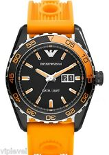 EMPORIO ARMANI AR6046 BRAND NEW Orange Rubber Strap Men's Watch Fast Shipping!