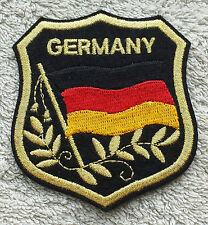 GERMANY FLAG IN SHIELD PATCH Embroidered Badge 7cm x 8cm Deutschland Iron Sew on
