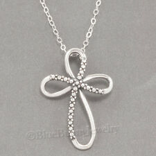 "CHRISTIAN RIBBON CROSS Jesus Charm Pendant 925 STERLING SILVER 18"" Necklace"
