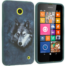 For Nokia Lumia 630 635 TPU Design Rubber Soft Skin Case Cover Blue Wolf