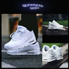 "Nike Air Max 90 ""Triple White"" Leather Mens Shoes Street Casual Running Gym"