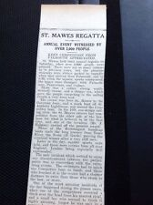 64-3 1939 Falmouth 1/9/39 Article St Mawes Regatta Results And More