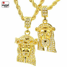 "New Men's Hip Hop Mini DOUBLE Iced Out Jesus 22"" & 26"" Rope Chain Combo TMHC 07G"