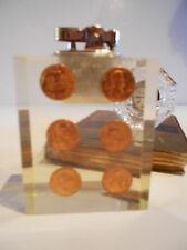 MID CENTURY MODERN LUCITE SCULPTURE PENNIES FLOATING CIGARETTE LIGHTER