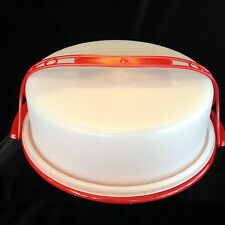 Vintage Tupperware Deep Dish Pie Taker Red White Handle.Thanksgiving Christmas