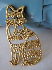 Vintage Signed AJC Gold Tone Cat Brooch Pin