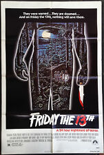 """FRIDAY THE 13TH - Original 1980 Horror Movie Poster 27""""x41"""" One Sheet"""