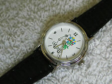 Ladies Casual Cat Style Quartz Watch GWO Black Leather Strap