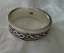 size 12 Sterling Silver 8g Men's Spinning Knot 8mm wide Band Ring
