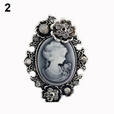 Women's Trendy Inlaid Rhinestone Flower Beauty Relief Cameo Antique Brooch