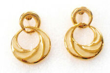 LOVELY  NAPIER HOOP SCREW BACK EARRINGS IN GOLDTONE WITH CREAMY INSERTS