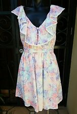 NWTS Bluejuice Lined Pastel Floral Dress, With Frills & Pintuck Feature Size 10