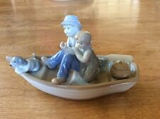 Porcelain Figurine of Man,Boy and Dog in Rowboat       -    Meico Inc