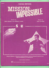 MISSION IMPOSSIBLE PIANO/VOCAL EDITION SHEET MUSIC COPY RIGHT 1966 RARE PIECES!!
