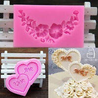 2Pcs/Set Cake Decorating Tools Silicone Molds Mrs& Mr Heart Rose Swang Cupcake