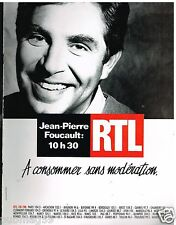 Publicité Advertising 1989 Radio RTL avec Jean Pierre Foucault