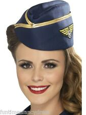 Ladies Navy Air Hostess Air Stewardess Hat With Badge Gold Braid Fancy Dress