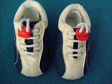 5 x BABY MAN MADE MATERIAL FITS 6 12 MONTHS SHOES IN BLUE AND WHITE IN DENIM AND