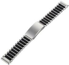 SPEIDEL 19MM SILVER BLACK STAINLESS STEEL RUBBER BUCKLE WATCH BAND STRAP