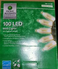 Home Depot Accents 100 LED MINI STRING LIGHTS Warn White on GREEN wire NEW