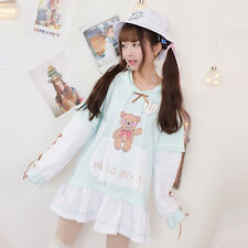 Mori Girl Long Sleeve Sweet kawaii Japanese Lolita Hooded Sweatshirts Dress