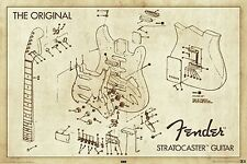 FENDER - GUITAR DIAGRAM POSTER - 24x36 SHRINK WRAPPED - STRATOCASTER 24959
