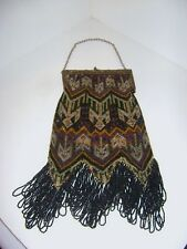 Vintage 1920's Art Deco Flapper Purse Mandalian Beaded Fringe Metal Clasp Chain