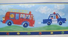 """TOY FIRE TRUCK POLICE & AMBULANCE VEHICLES Wallpaper Border 6 7/8"""""""