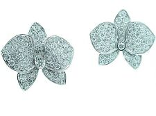 CARTIER  18K  LARGE  DIAMOND  ORCHID  EARRINGS . .PAPERS & BOX