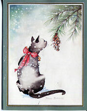 Unused Vintage Caspari Christmas Card :Siamese Cat in the Snow