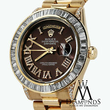 Rolex President 18kt Yellow Gold Day-Date Brown Dial Diamond Case Watch. Video