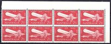 Australia 1964 First Air Mail 2s3d Corner Block of 8 - 7 MNH, 1MH
