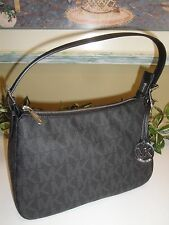 MICHAEL KORS JET SET SMALL ZIP SHOULDER BLACK SIGNATURE PVC BAG TOTE NEW $198