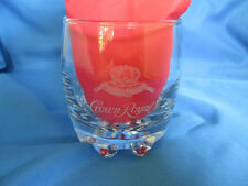 Etched Crown Royal Canadian Whiskey On the Rocks Glass Rounded Ridge Bottom