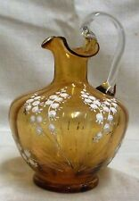 Victorian Bohemian Amber Glass White Enamel Lily Of The Valley Jug Rough Pontil