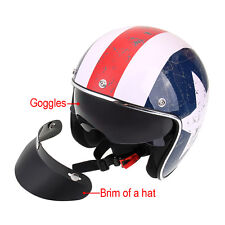 3/4 Motorcycle Helmet+Goggles Half Open Face Helm Captain America Style L DOT