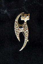 Sterling Silver Marcasite CAT PIN BROOCH Black Onyx