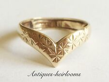 Vintage Patterned 9ct Yellow Gold Wishbone Ring Fully Hallmarked 9ct 375