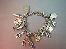VTG Double Link Charm Bracelet w/ Charms Peepers Rocker Rolling Pin Moving Parts